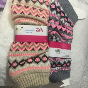 2 Pairs Justice Legwarmers, one size.